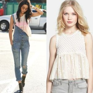 Free People Ivory Lace Park Slope Crop Tank Top